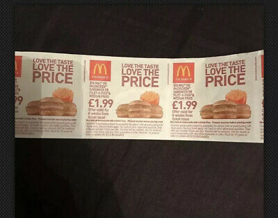 Strip Of McDonalds Food Vouchers No Expiry. Big Mac Mc Chicken Fillet O Fish