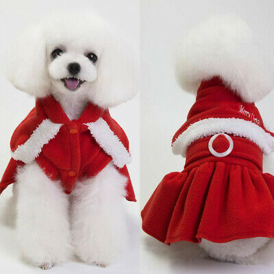 Christmas Pet Small Dog Cat Santa Claus Costume  Dress Jumpsuit Outfit Clothes