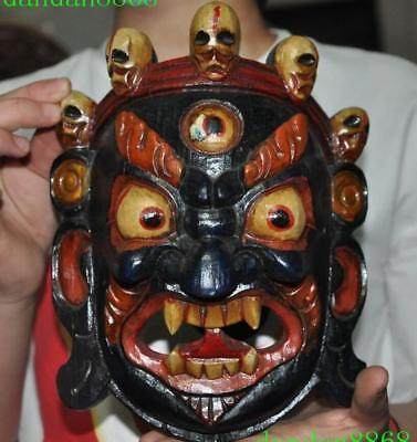Tibet old wood Painted Carving 3 eyes Ghosts skull head man Exorcism mask statue