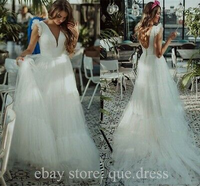 Princess Satin Beach Wedding Dresses A Line Tiered Layer Deep V-neck Bridal Gown
