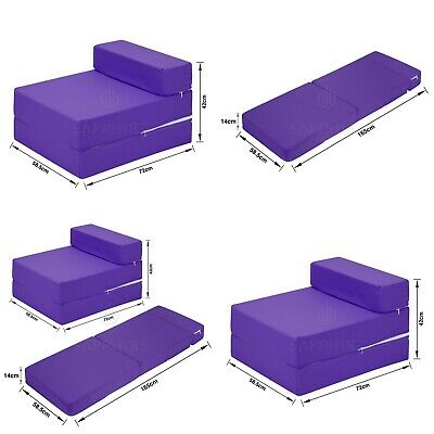 PURPLE Cotton Twill Z Bed Single Size Fold Out Chairbed Chair Foam Folding Sofa