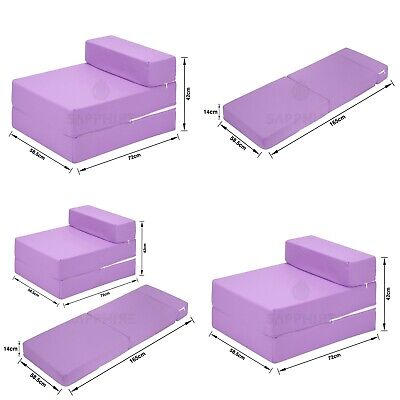 LILAC Cotton Twill Z Bed Single Size Fold Out Chairbed Chair Foam Folding Sofa