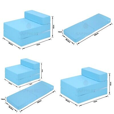 SKYBLUE Cotton Twill Z Bed Single Size Fold Out Chairbed Chair Foam Folding Sofa