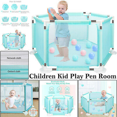Baby Playpen by 6 Sides with Round Zipper Door Play Pen 18 Poles for Free 10*Bal