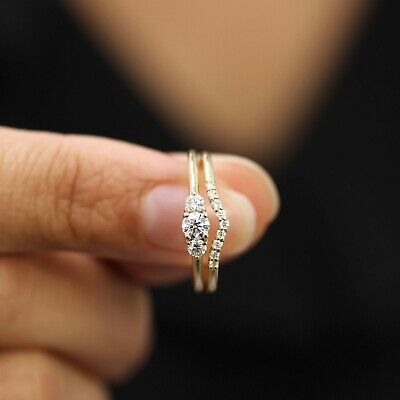 14k Yellow Gold Over Tiny Three Stone Engagement Ring With Chevron Band Ring Set