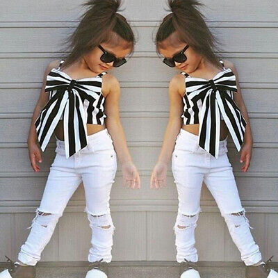 Strapless Cute White Trousers Clothing  Suit Stripe Girls Sets Tops + Pants