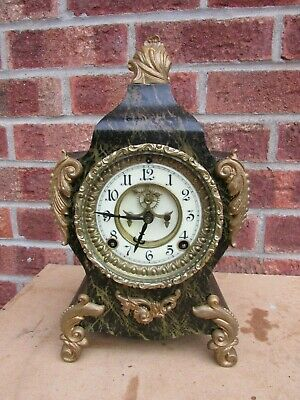 American Ansonia Ricoco Style 8 Day Striking Mantle Clock C1880