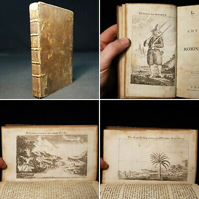 1778 Life & Adventures ROBINSON CRUSOE Daniel Defoe WITH 4 ENGRAVED PLATES Calf
