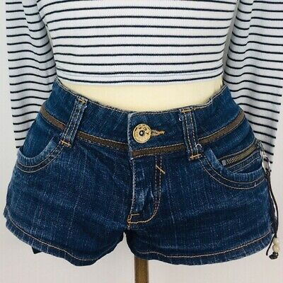 TRF VINTAGE 90's LOW-RISE HIPSTER MICRO DAISY DUKES DENIM JEAN SHORTS UK 8