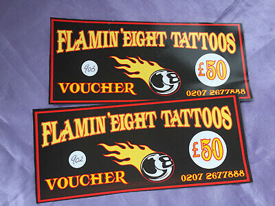 Tattoo vouchers (worth £100) for FLAMIN EIGHT tattoo parlour London for £50 cash