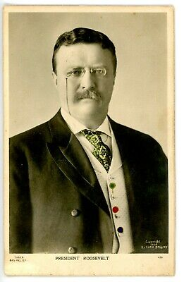 Political -PRESIDENT THEODORE ROOSEVELT IN RELIEF- Embossed RPPC Postcard Pach