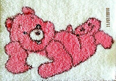 "Latch Hook   Completed Rug   ""Pink Teddy Bear"" Brand New"