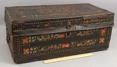 Small 19thC Chinese Export Painted Leather & Brass, Camphor Wood Chest Trunk