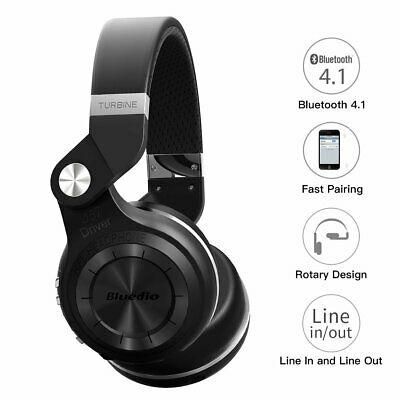 Bluedio T2s Bluetooth Headphones On Ear with Mic, 57mm Driver Rotary Folding Wir