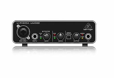Behringer UMC22 2x2 USB Audio Interface with MIDAS Mic Preamplifier
