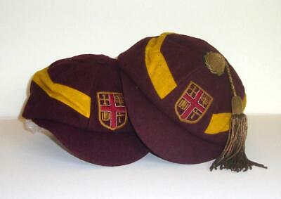X25 - TWO ORIGINAL VINTAGE SCHOOL RUGBY CAPS - ONE WITH TASSEL - CIRCA 1920-30s