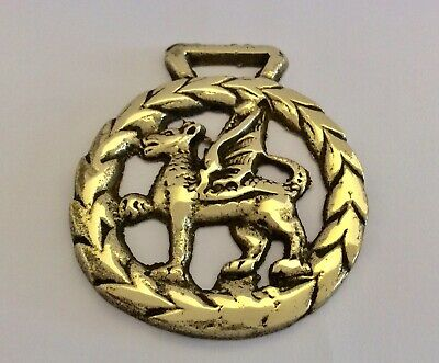 """Rare Late 19th Century """"WELSH DRAGON"""" Cast Horse Brass"""