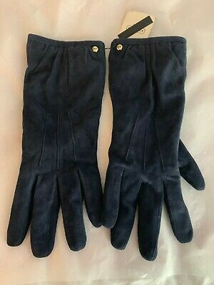 New with tags Coach Suede Gloves with Cashmere Lining Navy Blue size 6.5