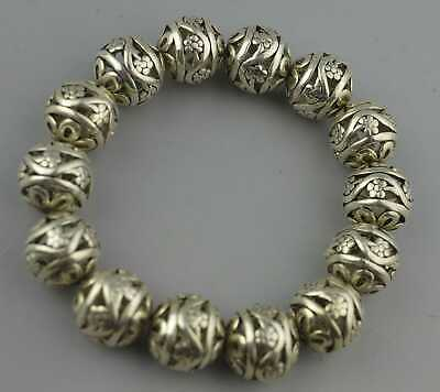 Collectable Handwork Old Miao SIlver Carve Hollow Flower Bead Fashion Bracelet