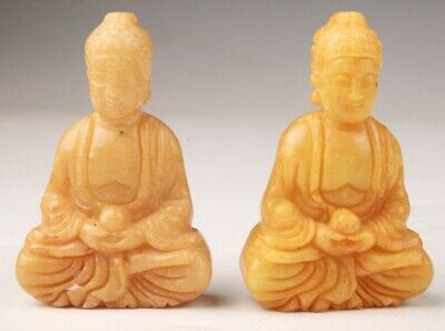 2 Unique Jade Statue Pendant Guanyin Amulet Gift Spirituality Old Collec