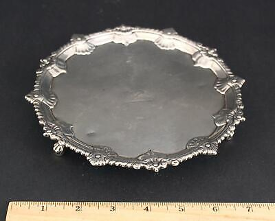 18thC Antique 1764 Hannam & Mills London Chippendale Sterling Silver Salver Tray