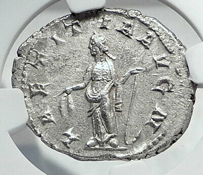 GORDIAN III Authentic Ancient 241AD Rome Silver Roman Coin LAEITITA  NGC i81344