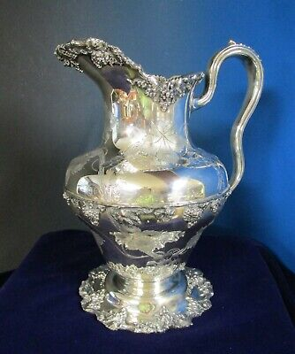 Antique Barbour #5154 Silverplate Pitcher Chased Grapes VINTAGE Impressive!