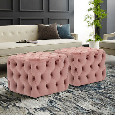 Chesterfield Coffee Table Footstool Velvet Deep Buttoned Ottoman Pouffe Seat NEW