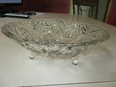 Vintage Clear Cut Glass Footed Scalloped Top Candy Nut Dish Starburst