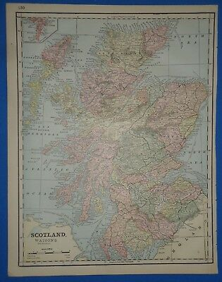 Vintage 1891 SCOTLAND MAP ~ Old Antique Original Atlas Map 112118
