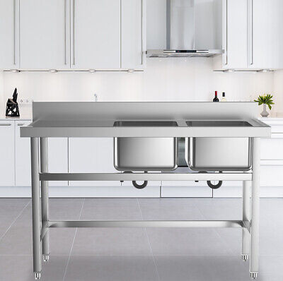 Commercial Kitchen Catering SINK Stainless Steel Double Bowl Wash Sink