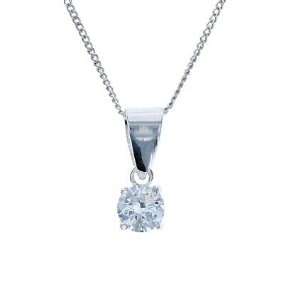 Toc Sterling Silver Clear Cubic Zirconia 5mm Pendant on 18 Inch Chain