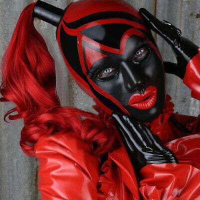 Unisex Latex Mask Rubber Maske Red&Schwarz Realistic Sexy Masque Hood Cosplay