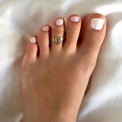 Summer Beach Jewelry Open Adjustable Lotus Foot Toe Ring in 14k Rose Gold Over