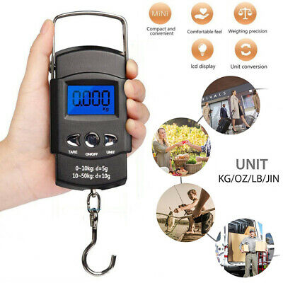 110lb/50kg LCD Electronic Digital Fishing Hanging Hook Scale w8Measuring Tape