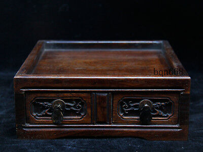 China old antique handcarved Huanghuali Wood Palace dragon Jewelry box