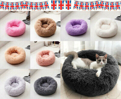 UK Dog Pet Bed kennel Luxury Shag Warm Fur Fluffy Puppy Kitten Donut Cushion Mat
