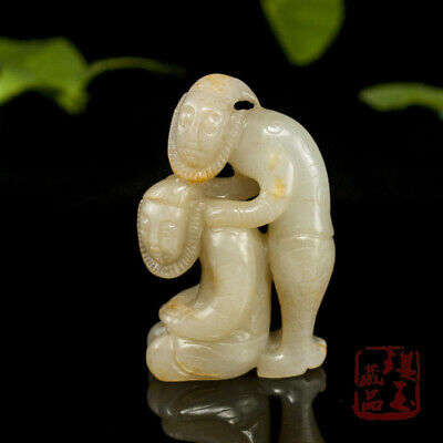 "3"" China old antique 100% Natural hetian jade handcarved Lovers Pendant"