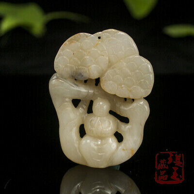 China old antique 100% Natural hetian jade handcarved god pine Pendant statue