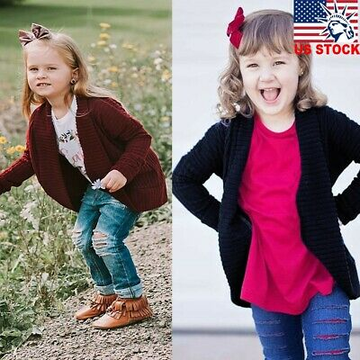 Children Baby Kid Girls Solid Sweater Knit Warm Coat Cardigan Jacket Top Clothes