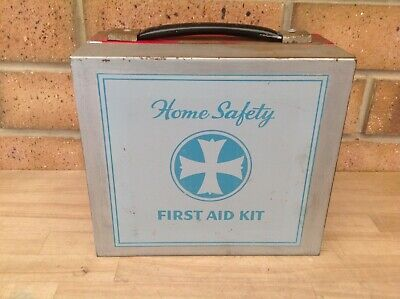 Vintage Metal Home Safety First Aid Kit Case, First Aid Cabinet, Collectable