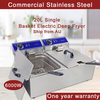 20L Commercial Electric Deep Fryer Stainless Steel Fat Chip Chicken Fryer 2 Tank