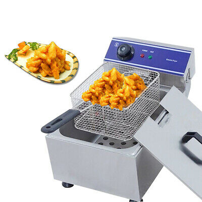 10L Electric Deep Fryer Smokeless Stainless Steel Commercial Chips Frying Pan