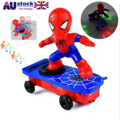 Super Hero Electric Spiderman Skateboard Kids Toy 360° Tumbler With Light Music