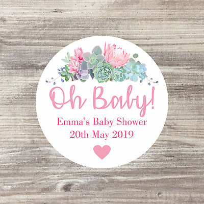 35 x Baby Shower Personalised Stickers, Baby Shower Favours, 37mm Circles