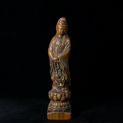"11"" China old antique huanghuali wooden handcarved Guanyin Buddha Statue"
