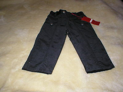 Brand New Elle Black Velvet Feel Girls Trousers 18Mnths Flower Imprint Pocket