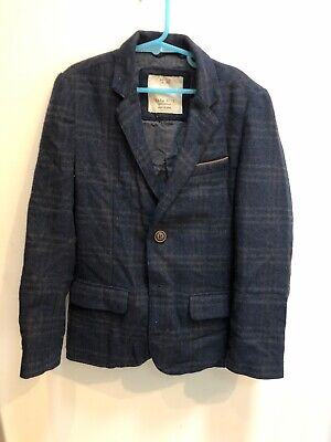 Zara Boys Navy Suit Jacket, Thick Tweed Material. Age 7/8. Check.