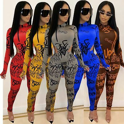 New Stylish Women's Long Sleeves Letter Printed Bodycon Club Long Jumpsuit 2pcs