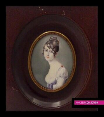 ANTIQUE FRENCH MINIATURE PAINTING WATERCOLOR 1890s Portrait of a lady Empire st.